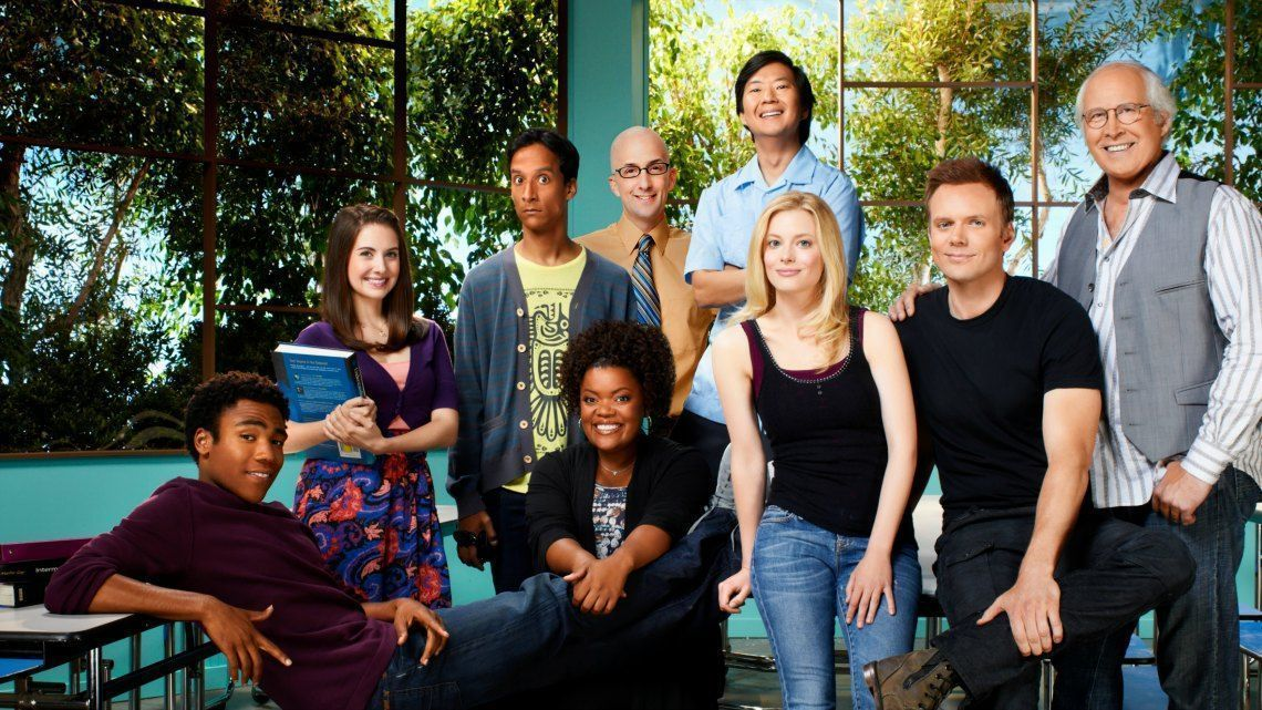COMMUNITY -- Season: 2 -- Pictured: (l-r) Donald Glover as Troy, Alison Brie as Annie, Danny Pudi as Abed, Yvette Nicole Brown as Shirley, Ken Jeong as Sen?or Chang, Gillian Jacobs as Britta, Joel McHale as Jeff Winger, Chevy Chase as Pierce -- Photo by: Mitchell Haaseth/NBC